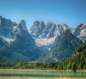 Tranquil summer Italian dolomites mountain lake Royalty Free Stock Photo