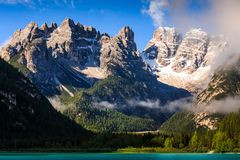 Lago di Landro Lake in the Dolomites, South Tyrol, Italy. Europe Royalty Free Stock Images