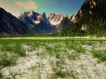Lago di Landro in sunny summer day dolomites Royalty Free Stock Photos