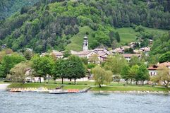 Lago di Ledro with Church, Italy. Lago di Ledro is a lake in Trentino, Italy. At an elevation of 655 m, its surface area is 2.187 km Royalty Free Stock Images