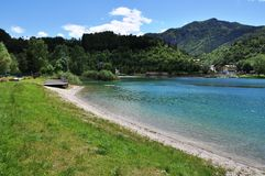 Lago di Ledro with Hotel, Italy Royalty Free Stock Image