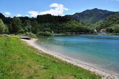 Lago di Ledro with Hotel, Italy Royalty Free Stock Image