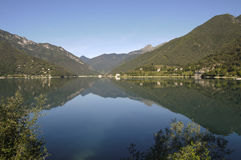 Lago di Ledro,lake Ledro. Mountain panorama mirrored of Lago di Ledro in north Italy Royalty Free Stock Photography