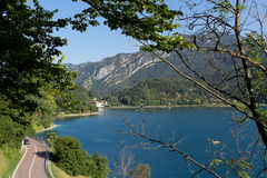 Lago di Ledro landscape, lake in Trentino, Italy. Lake Ledro is one of the cleanest lakes in Trentino, it is possible to practise a lot of different sports royalty free stock photos