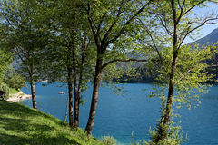 Lago di Ledro landscape, lake in Trentino, Italy. Lake Ledro is one of the cleanest lakes in Trentino, it is possible to practise a lot of different sports stock photography
