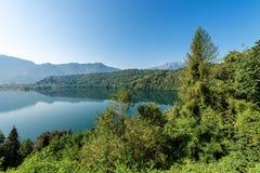 Lake of Levico - Trentino Alto Adige - Italy. Lago di Levico Lake, Levico Terme, Trentino Alto Adige, Italy, Europe royalty free stock photography