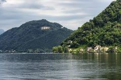 Lago di Lugano: Morcote Fotografia Stock Libera da Diritti