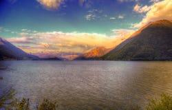 Lago di Lugano o lago Ceresio Immagine Stock