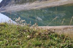 Lago Di Montespluga, δεξαμενή, στο πέρασμα βουνών Spluegen στην Ιταλία, Λομβαρδία Στοκ φωτογραφίες με δικαίωμα ελεύθερης χρήσης