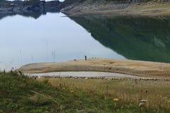 Lago di Montespluga, réservoir, dans le passage de montagne de Spluegen en Italie, la Lombardie Photographie stock libre de droits