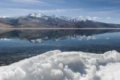 Lago di moriri di TSO della montagna dell'Himalaya nel ladakh, leh India Fotografie Stock