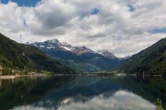 Lago di Poschiavo, lake in  Switzerland Alps Stock Photo