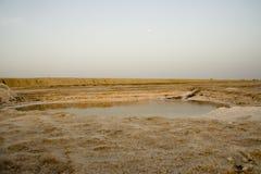 Lago di sale bianco in deserto Fotografia Stock