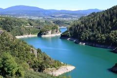 Lago di Santa Giustina nelle dolomia italiane Fotografia Stock Libera da Diritti