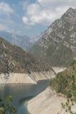 Lago di Selva in Friuli. The idyllic Lago di Selva with its imposing 111 m high dam is located in the Dolomites Stock Photos