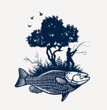 Lago di sogno fishing Fotografia Stock Libera da Diritti