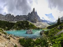 Lago di Sorapiss with amazing  turquoise color of water. The mou Stock Image