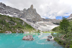 Lago di Sorapiss - Italian Dolomites Royalty Free Stock Photography