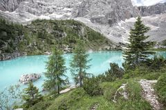Lago di Sorapiss - unusual color,Italian Dolomites Royalty Free Stock Photography