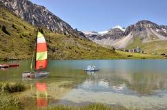 Lago di Tignes in Francia Fotografie Stock
