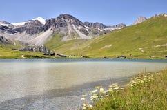 Lago di Tignes in Francia Immagini Stock