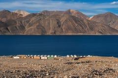 Lago di TSO di Pangong e delle montagne in Ladakh, l'India del nord Immagine Stock Libera da Diritti