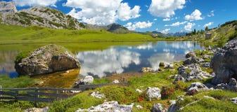 Lago di Valparola, Dolomites, Italy stock image