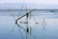 Lago di Varano and fishery tools, Italy Stock Photos