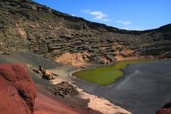 Lago di Verde, Lanzarote, Spagna Fotografie Stock Libere da Diritti