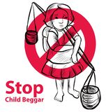 Lago dibujado mano child una libertad necesitan la educación, mendigo rojo del niño de la parada del símbolo Foto de archivo