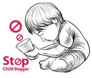 Lago dibujado mano child una libertad necesitan la educación, mendigo rojo del niño de la parada del símbolo Imágenes de archivo libres de regalías