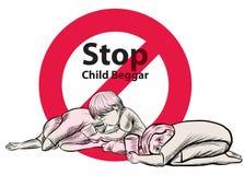 Lago dibujado mano child una libertad necesitan la educación, mendigo rojo del niño de la parada del símbolo Imagen de archivo libre de regalías
