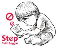 Lago disegnato a mano child una libertà hanno bisogno dell'istruzione, mendicante rosso del bambino di arresto di simbolo Immagini Stock Libere da Diritti