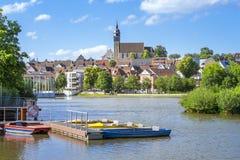 lago do boeblingen com vista à igreja fotografia de stock