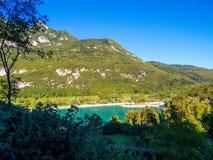 Lago do italiano do Tenno: Lago di Tenno em Trentino, Itália foto de stock