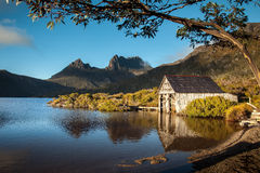 Lago dove. Montanha do berço. Tasmânia. Austrália. fotografia de stock