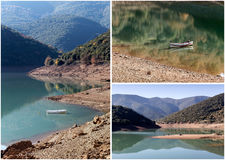 Lago e barco collage foto de stock royalty free