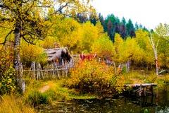 Lago e casa Imagem de Stock