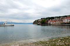 Lago e cidade Ohrid, a República da Macedônia Imagem de Stock Royalty Free