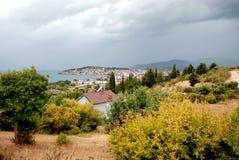 Lago e città Ocrida, Repubblica Macedone Immagini Stock Libere da Diritti