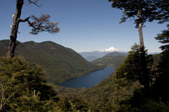 Lago e montagne fra la foresta con il vulcano nevoso Immagini Stock