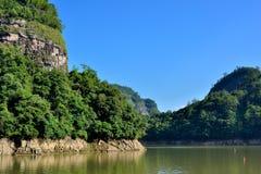Lago e montagne in Fujian, a sud della Cina Fotografie Stock Libere da Diritti