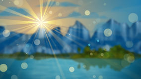 Lago e montanhas fora de foco Foto de Stock