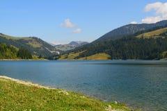 Lago e montanhas suíços fotos de stock royalty free
