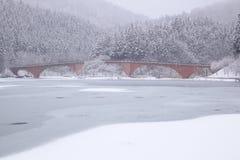 Lago e ponte congelados Imagens de Stock