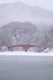 Lago e ponte congelados Fotos de Stock