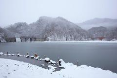 Lago e ponte congelados Foto de Stock Royalty Free