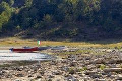 Lago e rio Campotosto Fotografia de Stock Royalty Free