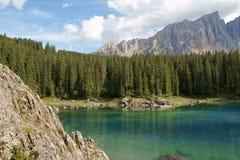 Lago e Rosengarten Carezza Fotografie Stock