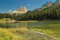 Lago e Tre Cime Di Lavaredo Misurina nel fondo, Al della dolomia Immagine Stock Libera da Diritti